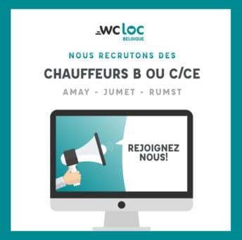 WCLoc Belgique recrute des Chauffeurs B ou C/CE